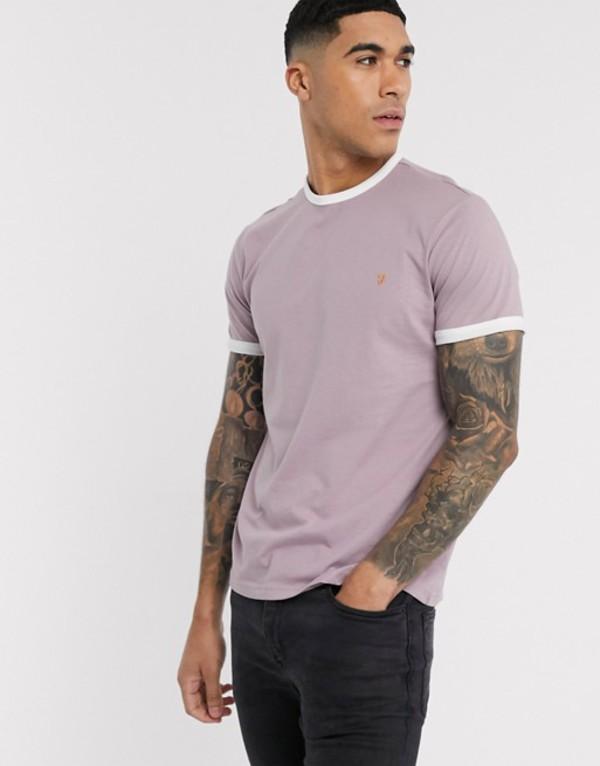 ファーラー メンズ Tシャツ トップス Farah Groves slim fit ringer t-shirt in pink Wisteria pink