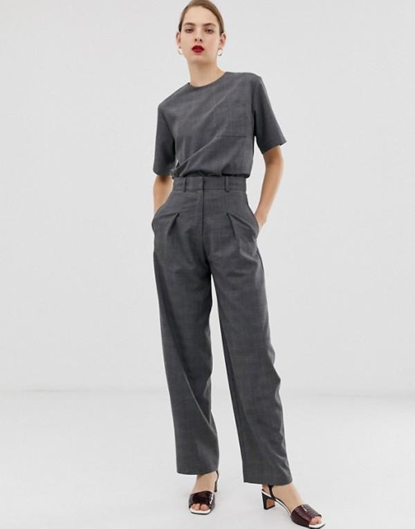 エイソス レディース カジュアルパンツ ボトムス ASOS WHITE check two-piece pants Gray