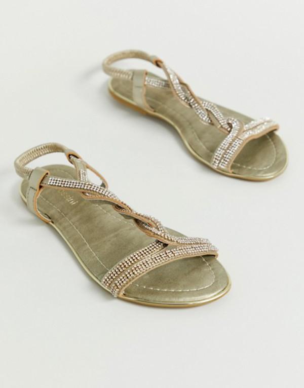 ピアロッシーニ レディース サンダル シューズ Pia Rossini embellished braid flat sandal Gold