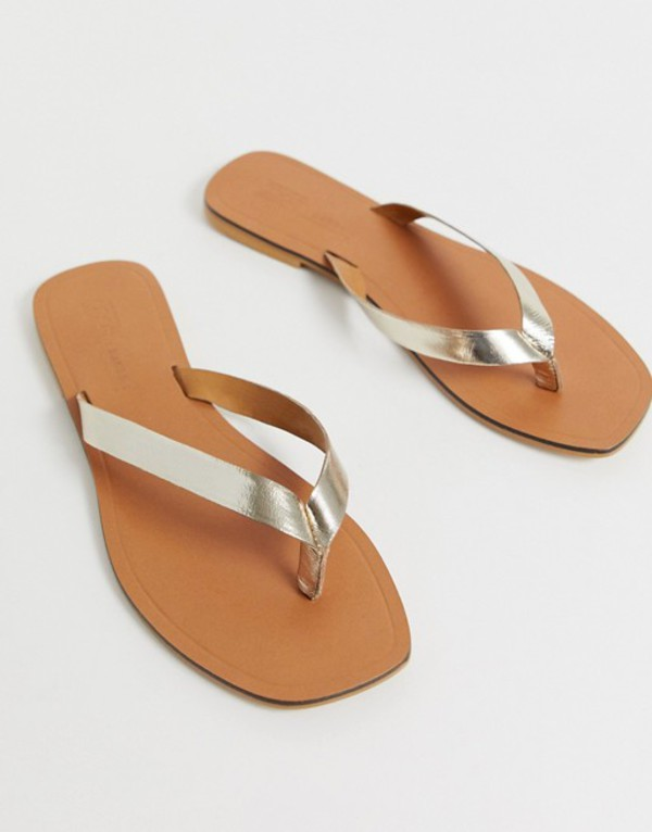 エイソス レディース サンダル シューズ ASOS DESIGN Florence leather flip flop sandals in gold Gold