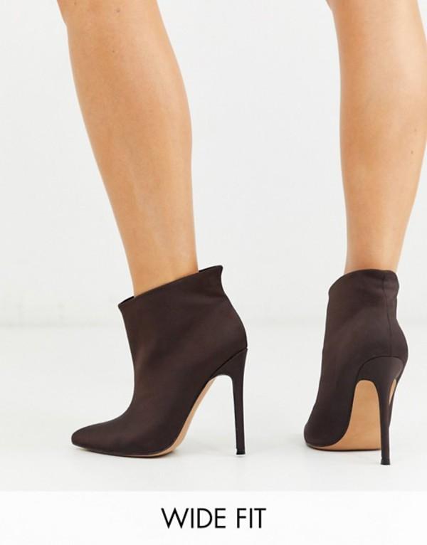 エイソス レディース ブーツ・レインブーツ シューズ ASOS DESIGN Wide Fit Effortless pull on ankle boots in brown Brown