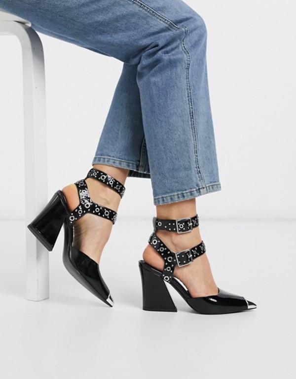 エイソス レディース ヒール シューズ ASOS DESIGN Showtime western mid-heels in black patent Black