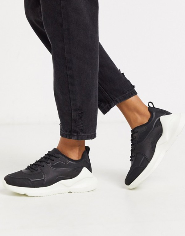 エイソス レディース スニーカー シューズ ASOS DESIGN Delhi knitted sneakers in black Black