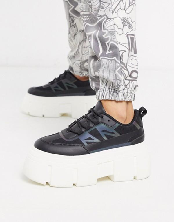 エイソス レディース スニーカー シューズ ASOS DESIGN Dapper chunky reflective sneakers in black Black/oil slick