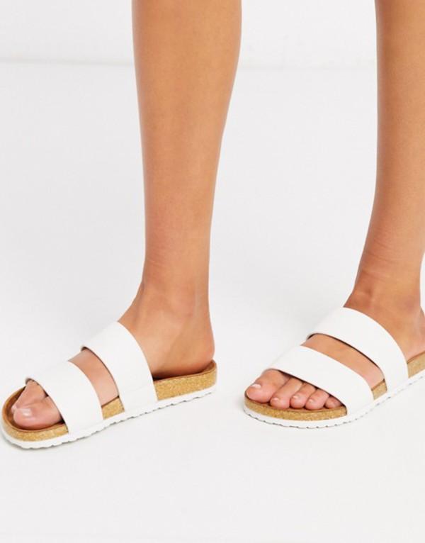 エイソス レディース サンダル シューズ ASOS DESIGN Fraser double strap mule sandal in white White
