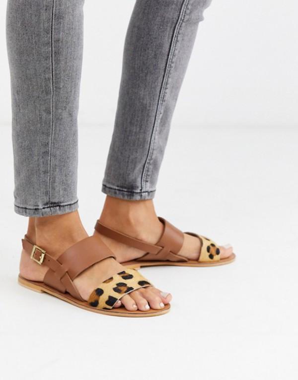 エイソス レディース サンダル シューズ ASOS DESIGN Foxglove leather flat sandals in leopard Leopard/tan