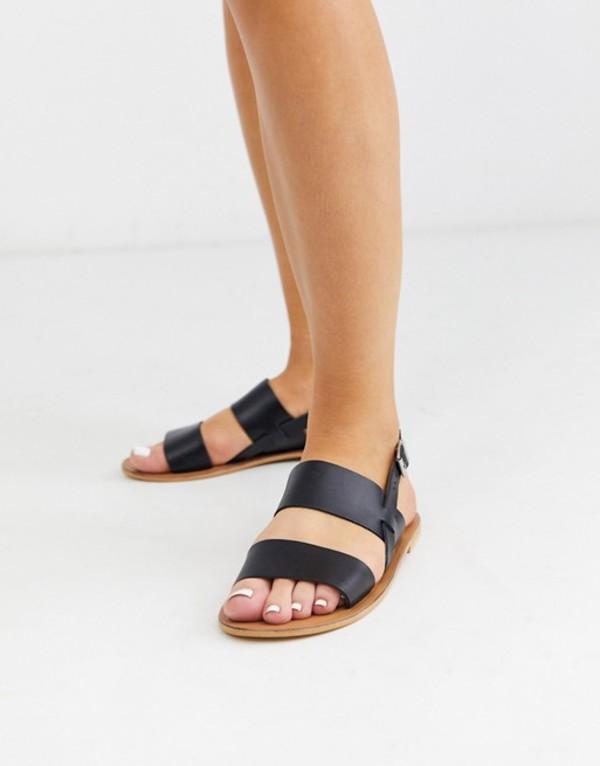 エイソス レディース サンダル シューズ ASOS DESIGN Foxglove leather flat sandals in black Black