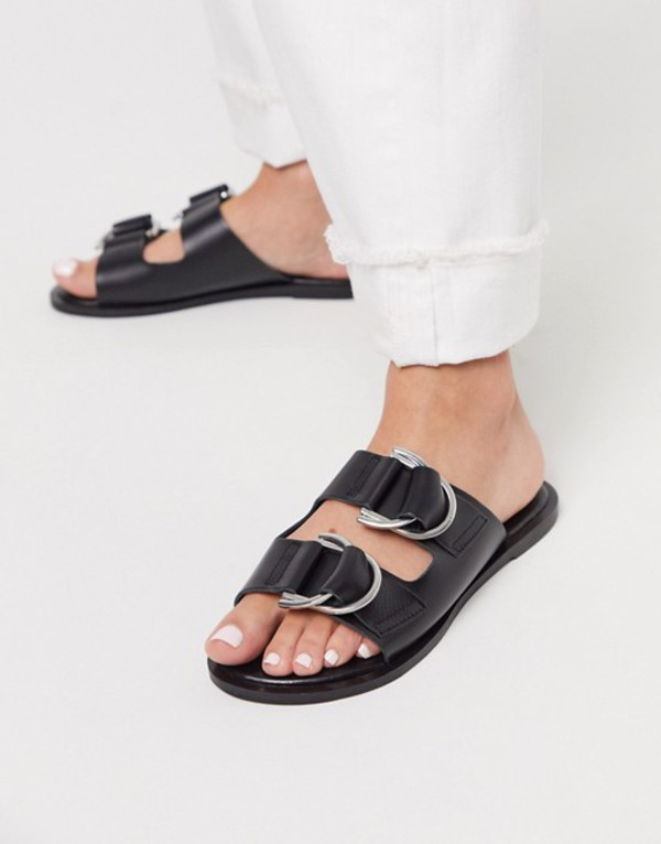 エイソス レディース サンダル シューズ ASOS DESIGN Flint leather sandals with buckle detail in black Black