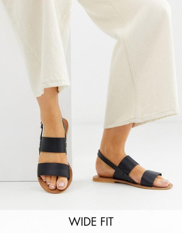 エイソス レディース サンダル シューズ ASOS DESIGN Wide Fit Foxglove leather flat sandals in black Black