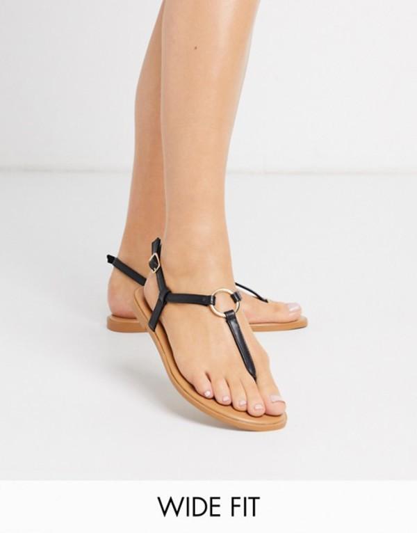 エイソス レディース サンダル シューズ ASOS DESIGN Wide Fit Valentina ring flat sandals in black Black