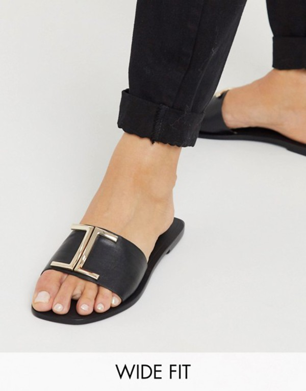 エイソス レディース サンダル シューズ ASOS DESIGN Wide Fit Factor leather flat sandals in black Black