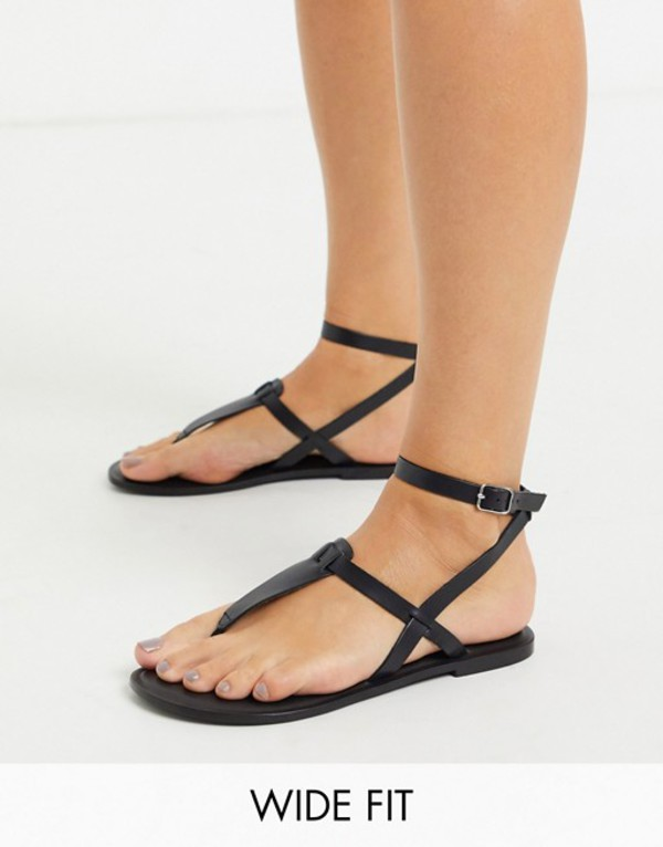 エイソス レディース サンダル シューズ ASOS DESIGN Wide Fit Fennel leather toe post sandal in black Black