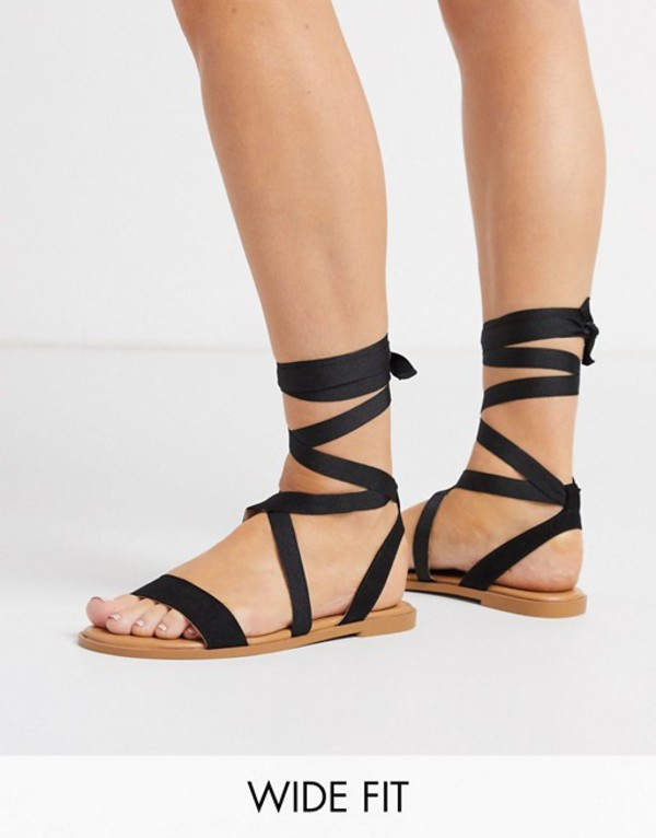 エイソス レディース サンダル シューズ ASOS DESIGN Wide Fit Finland tie leg flat sandals in black Black