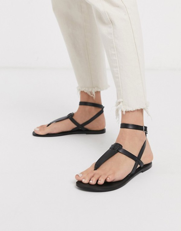 エイソス レディース サンダル シューズ ASOS DESIGN Fennel leather toe post sandal in black Black