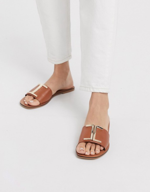 エイソス レディース サンダル シューズ ASOS DESIGN Factor leather flat sandals in tan Tan