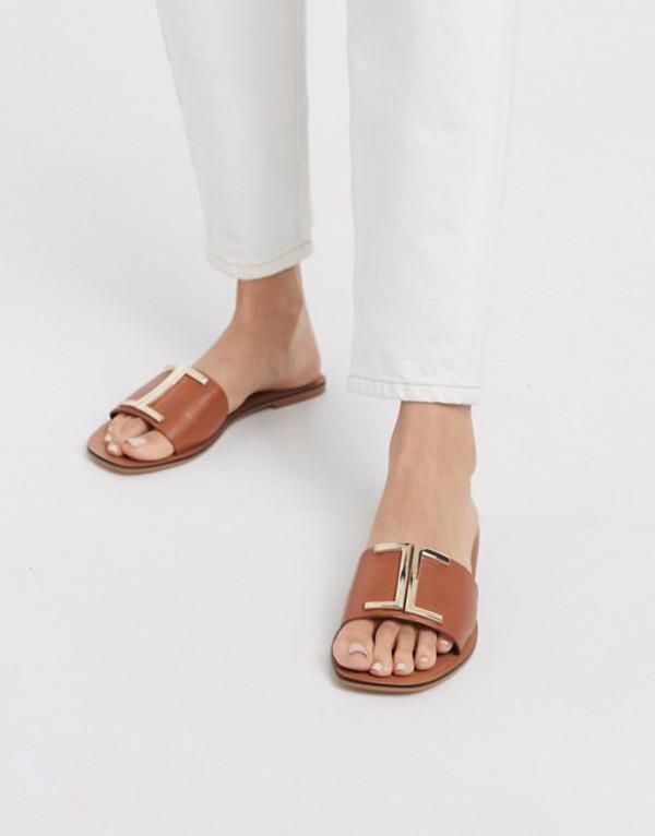 エイソス レディース サンダル シューズ ASOS DESIGN Factor leather flat sandals in tan Tan
