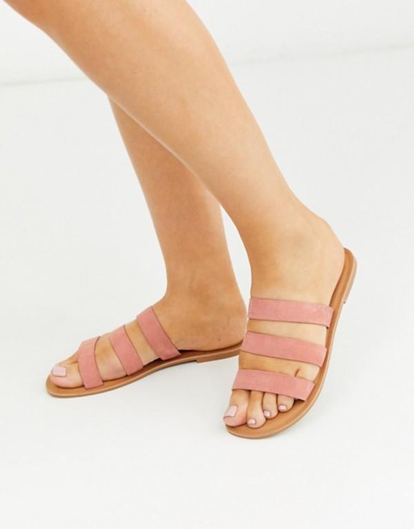 エイソス レディース サンダル シューズ ASOS DESIGN Farren leather flat sandals in pink Beige