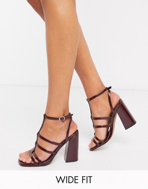 エイソス レディース サンダル シューズ ASOS DESIGN Wide Fit Nobel caged block heeled sandals in wine Wine patent