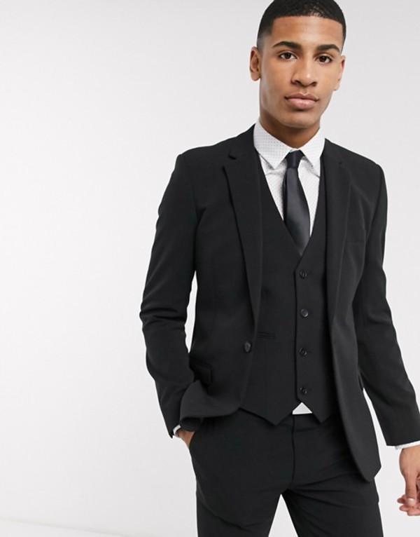 エイソス メンズ ジャケット・ブルゾン アウター ASOS DESIGN super skinny suit jacket in four way stretch in black Black