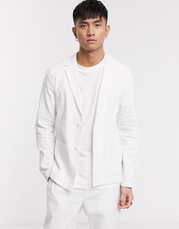 エイソス メンズ ジャケット・ブルゾン アウター ASOS DESIGN skinny soft tailored jacket in linen blend in white White