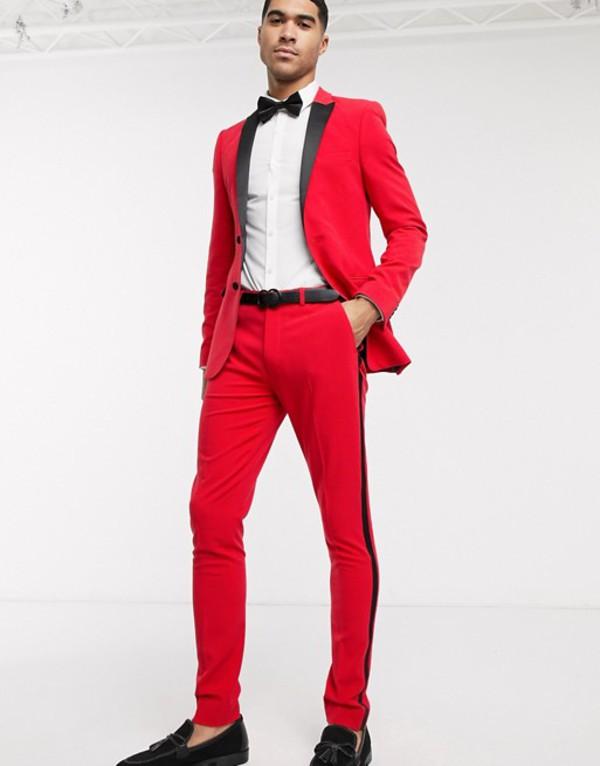 エイソス メンズ ジャケット・ブルゾン アウター ASOS DESIGN super skinny tuxedo jacket in bright red Red