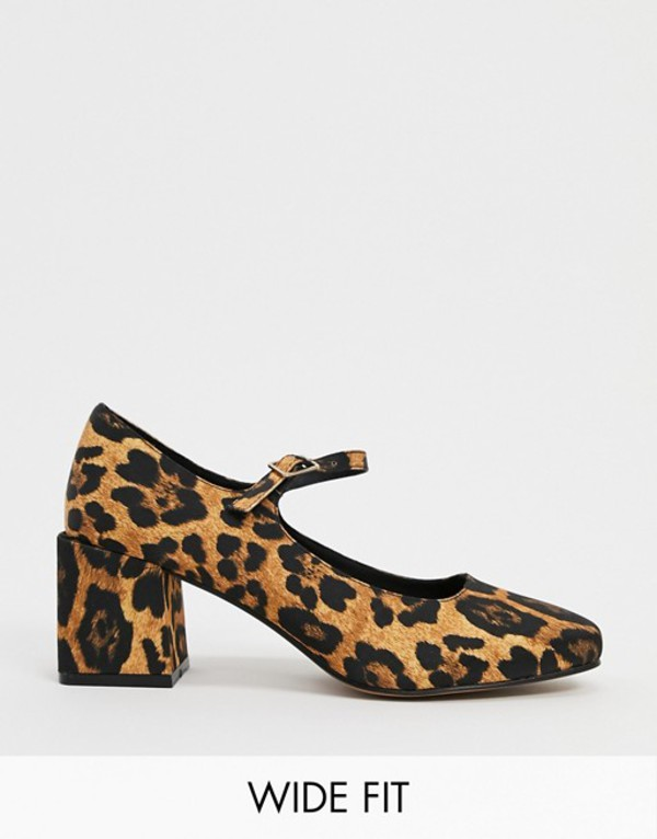 エイソス レディース ヒール シューズ ASOS DESIGN Wide Fit Willing mary-jane block heels in leopard Leopard