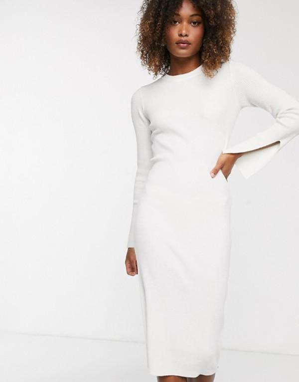 ワイエーエス レディース ワンピース トップス Y.A.S ribbed midi dress with side zip and sleeve split detail in white White