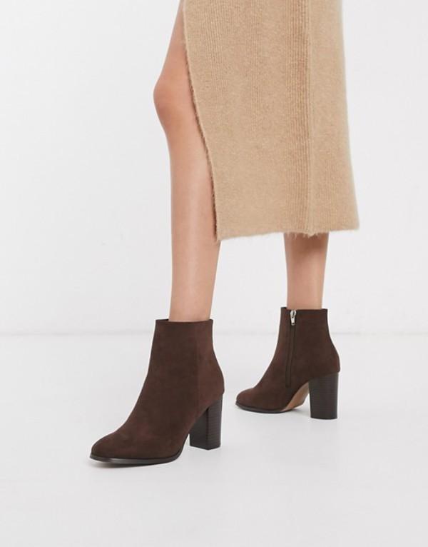 エイソス レディース ブーツ・レインブーツ シューズ ASOS DESIGN Rye heeled ankle boots in brown Dark brown