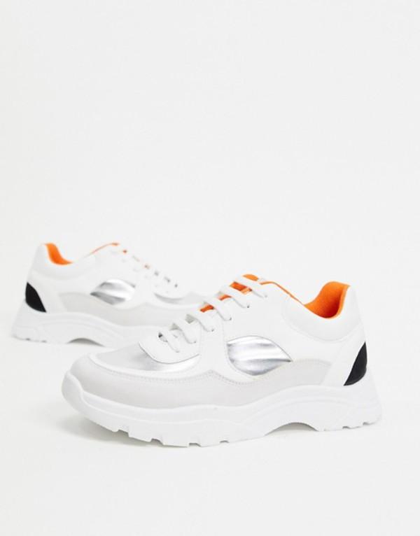 エイソス レディース スニーカー シューズ ASOS DESIGN Declare chunky sneakers in white silver and black White/silver/black