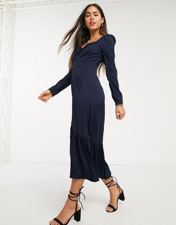 リクオリッシュ レディース ワンピース トップス Liquorish milkmaid dress with puff sleeves Navy