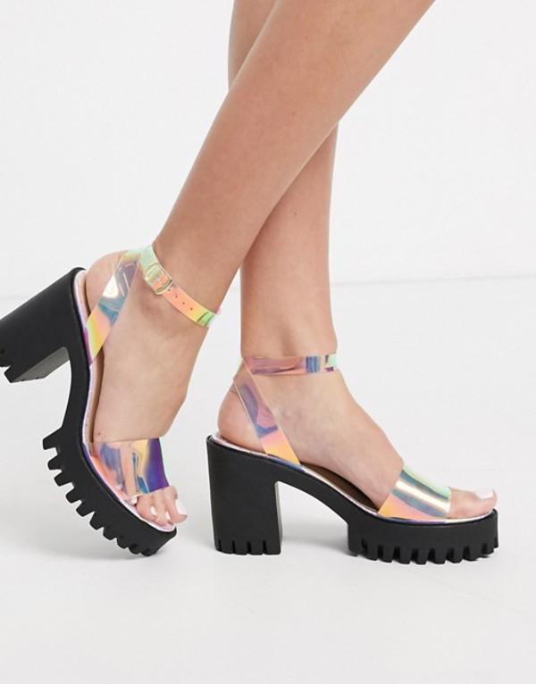 パブリックデザイア レディース サンダル シューズ Public Desire Nixie chunky cleated platform block heel sandal in irridescent Irridescent