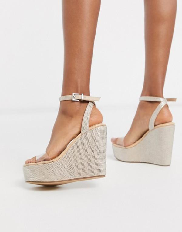 パブリックデザイア レディース サンダル シューズ Public Desire Pizzaze rhinestone wedge sandal in beige Beige mf