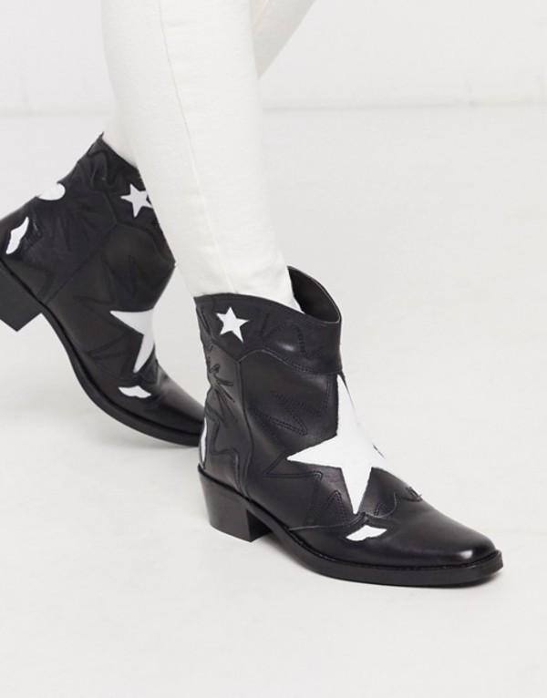 プルアンドベアー レディース ブーツ・レインブーツ シューズ Pull&Bear leather star western boots in black Black