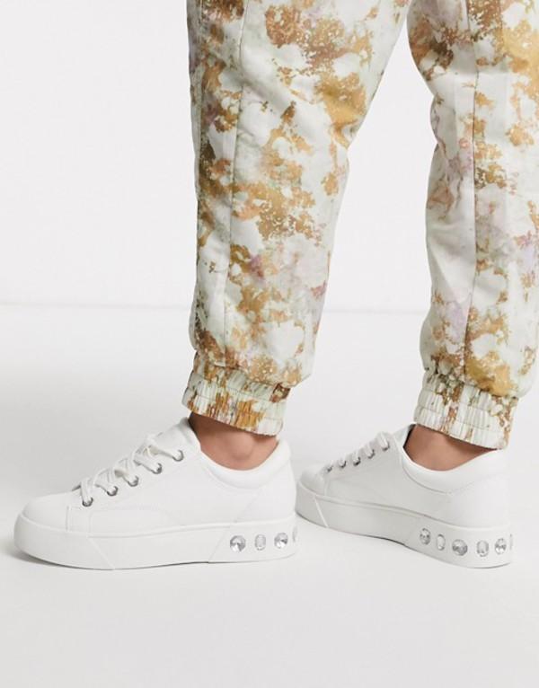 ベルシュカ レディース スニーカー シューズ Bershka gem detail lace front sneakers in white White