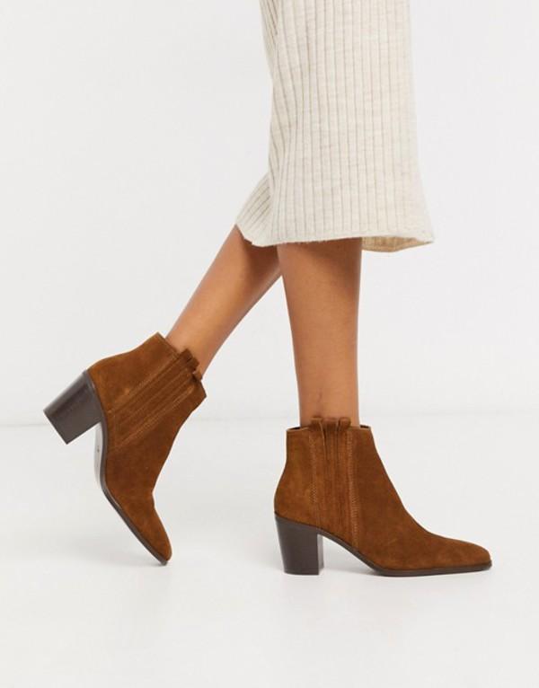 マンゴ レディース ブーツ・レインブーツ シューズ Mango suede ankle boots in tan Tan