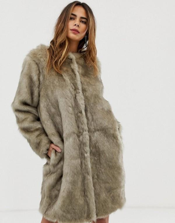 リクオリッシュ レディース コート アウター Liquorish faux fur longline coat Gray
