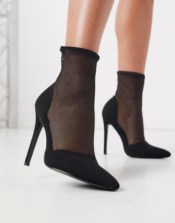 エイソス レディース ブーツ・レインブーツ シューズ ASOS DESIGN Estelle mesh sock boots in black mesh Black mesh