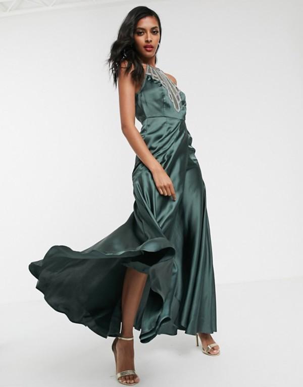 エイソス レディース ワンピース トップス ASOS DESIGN maxi dress in satin with embellished neck Gray