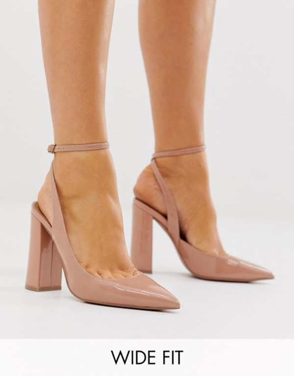 エイソス レディース ヒール シューズ ASOS DESIGN Wide Fit Pace high block heels in beige Beige patent