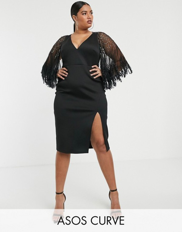 エイソス レディース ワンピース トップス ASOS DESIGN Curve faux feather cape midi dress Black