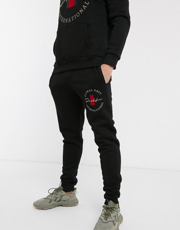リバーアイランド メンズ カジュアルパンツ ボトムス River Island sweatpants with prolific logo in black Black