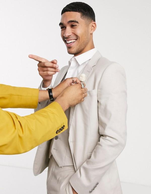 エイソス メンズ ジャケット・ブルゾン アウター ASOS DESIGN wedding super skinny suit jacket in stretch cotton linen in stone Stone