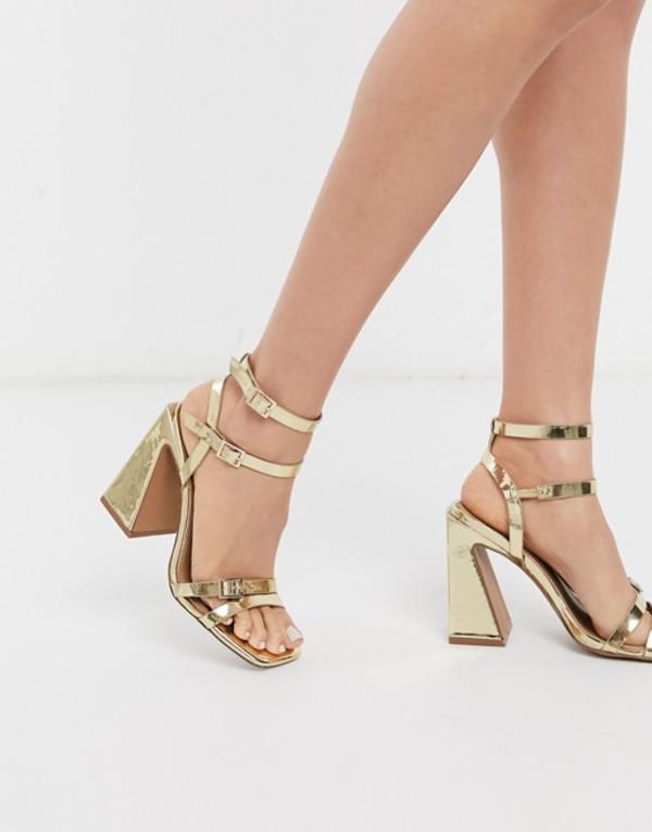 エイソス レディース サンダル シューズ ASOS DESIGN Nitro block heeled sandals in gold Gold