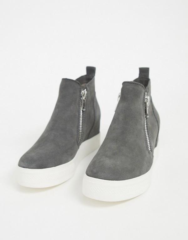 スティーブ マデン レディース スニーカー シューズ Steve Madden Wedge zip sneakers in gray Gray suede