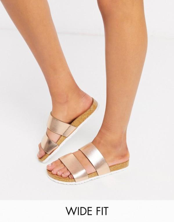エイソス レディース サンダル シューズ ASOS DESIGN Wide Fit Fraser double strap mule sandals in gold Gold