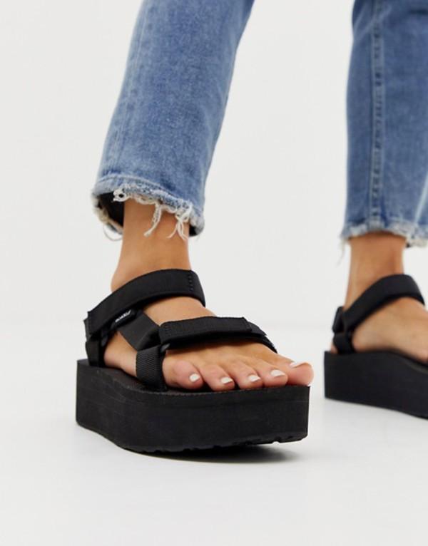 テバ レディース サンダル シューズ Teva flatform universal chunky sandals in black Black