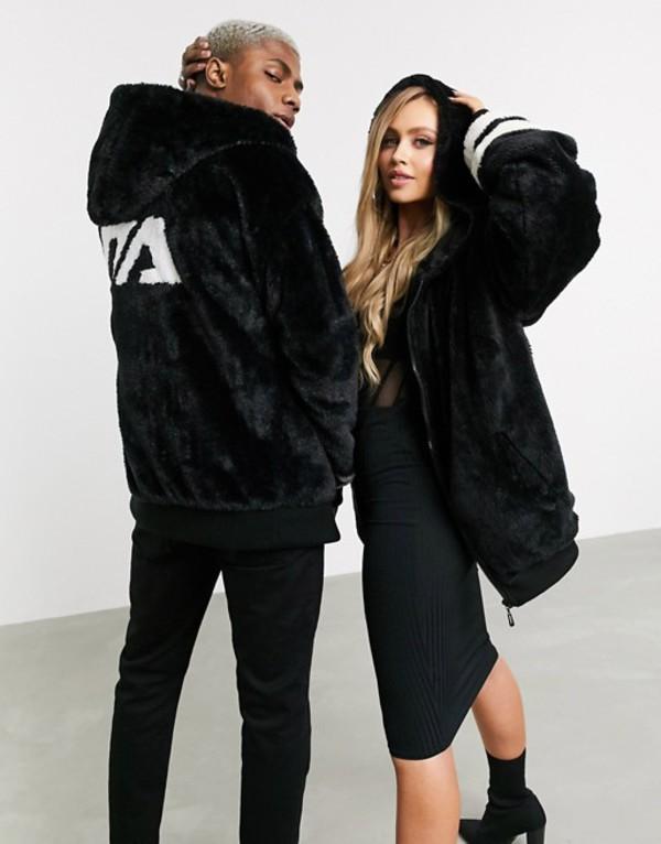 ナイト アディクト メンズ ジャケット・ブルゾン アウター Night Addict unisex faux fur oversized zip thru jacket with hood Black