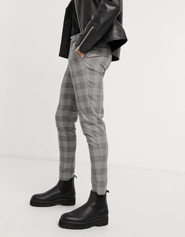 エイソス メンズ カジュアルパンツ ボトムス ASOS DESIGN super skinny smart pants in black prince of wales check Black