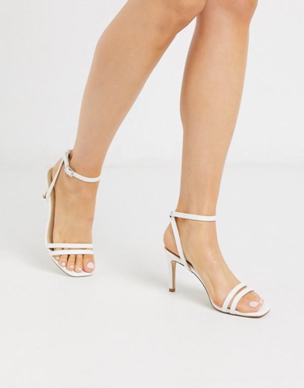 トリュフコレクション レディース サンダル シューズ Truffle Collection square toe strappy heeled sandals in white White pu
