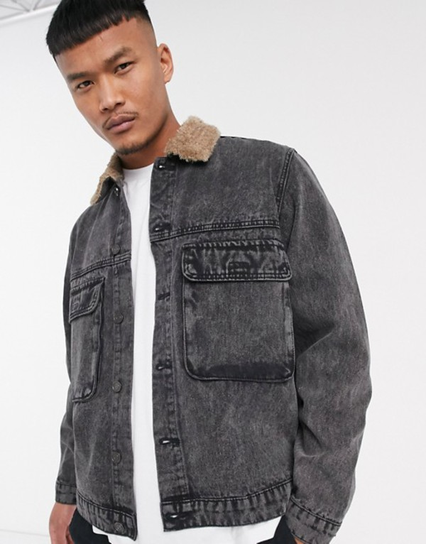 ブーフーマン メンズ ジャケット・ブルゾン アウター boohooMAN denim jacket with faux fur collar in washed black Black